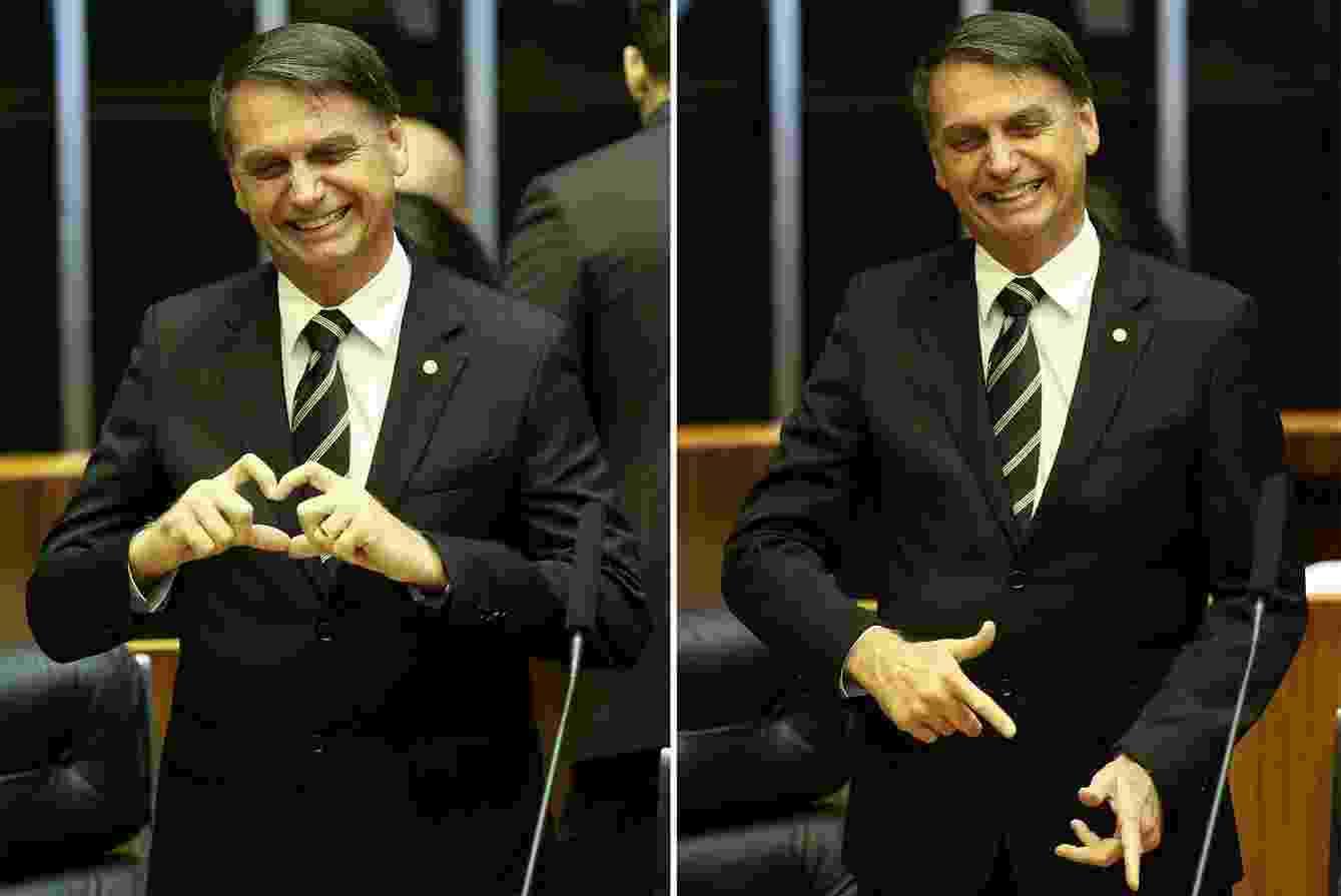 6.nov.2018 - Bolsonaro fez gestos de arma que marcou a sua campanha eleitoral e de coração durante a solenidade de comemoração dos 30 anos da Constituição, no plenário da Câmara - Pedro Ladeira/Folhapress