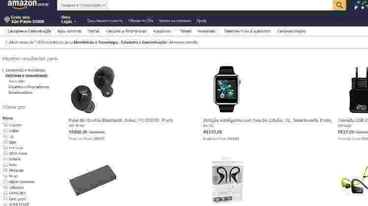 Busca no site da Amazon do Brasil mostra os produtos vendidos e distribuídos pela própria empresa - Reprodução - Reprodução
