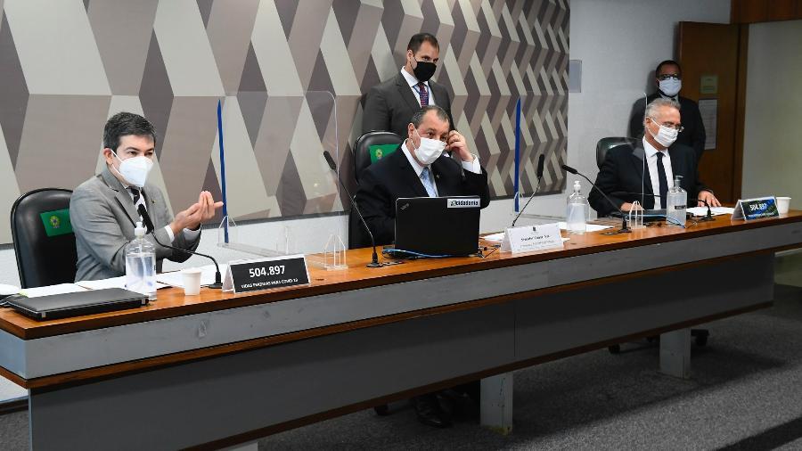 Cúpula da CPI da Covid, senadores Randolfe Rodrigues, Omar Aziz e Renan Calheiros - Marcos Oliveira/Marcos Oliveira/Agência Senado