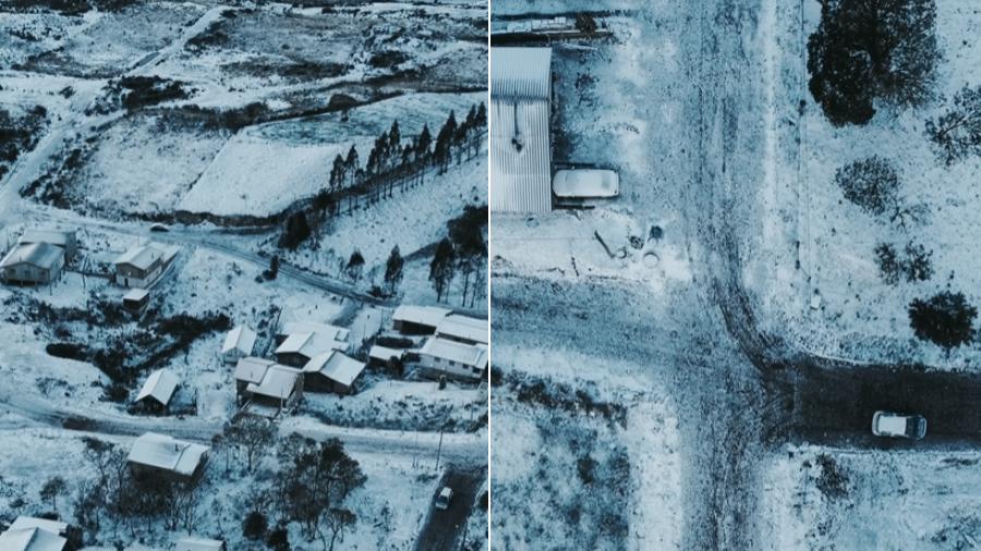 Imagens feitas da cidade de Cambará do Sul, na serra gaúcha, na quinta-feira (29), coberta pela neve - William Eduardo Films/Reprodução