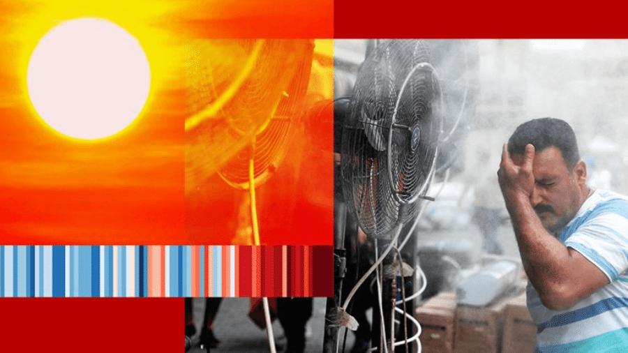 Entre 1980 e 2009, as temperaturas ultrapassaram os 50ºC cerca de 14 dias por ano em média, subindo para 26 dias por ano entre 2010 e 2019 - BBC