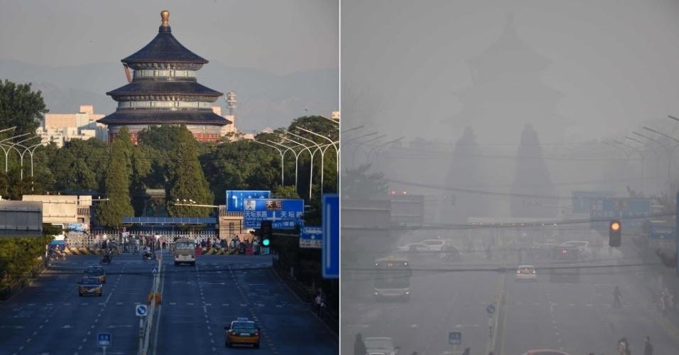 Diferença entre fotos tiradas no dia 14 de junho de 2015 (sem poluição) e 8 de dezembro de 2015 (com o maior alerta de poluição já emitido na China) é gritante. Ambas mostram o mesmo local: Templo do Céu em Pequim, capital do país asiático. Alerta vermelho foi emitido pela primeira vez no país por causa do alto índice de poluentes no ar