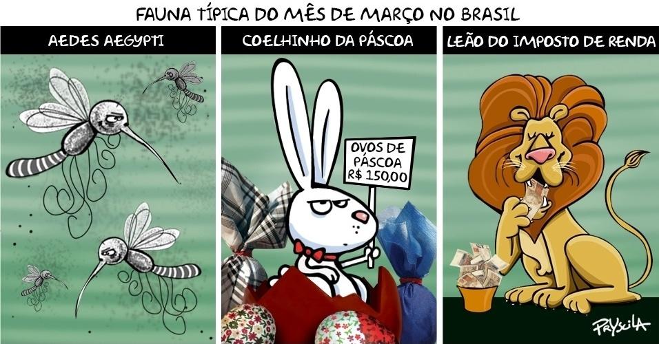 3.mar.2016 - Leão do IR, coelhinho da Páscoa e Aedes da zika, o mês de março chegou cheio de animais