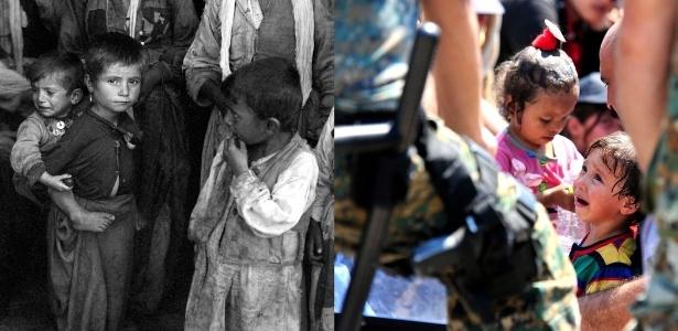 O choro de crianças é uma constante tanto dos refugiados do passado quanto nos do presente. A primeira cena ocorreu na Albânia, em 1945, enquanto a segunda foi registrada em 2015, na Macedônia