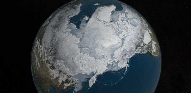 A área de gelo do Ártico atingiu sua pior marca da história durante o inverno: 14,52 milhões de quilômetros quadrados, a menor ponto máximo desde quando os satélites passaram a monitorar as geleiras do norte do globo - C. Starr/Nasa