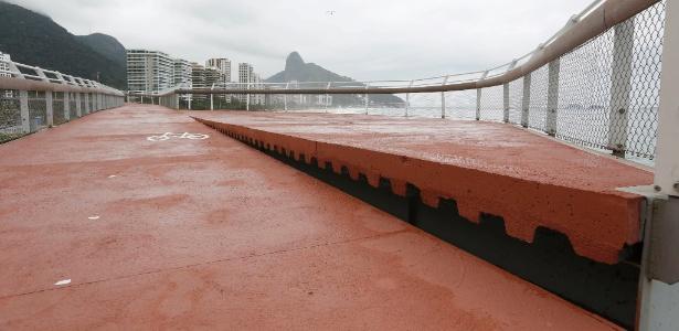 Imagem mostra desnível na ciclovia Tim Maia, em São Conrado, na zona sul do Rio