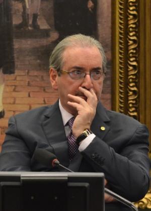 O deputado afastado Eduardo Cunha (PMDB-RJ) participa de sessão na CCJ (Comissão de Constituição e Justiça e Cidadania) da Câmara