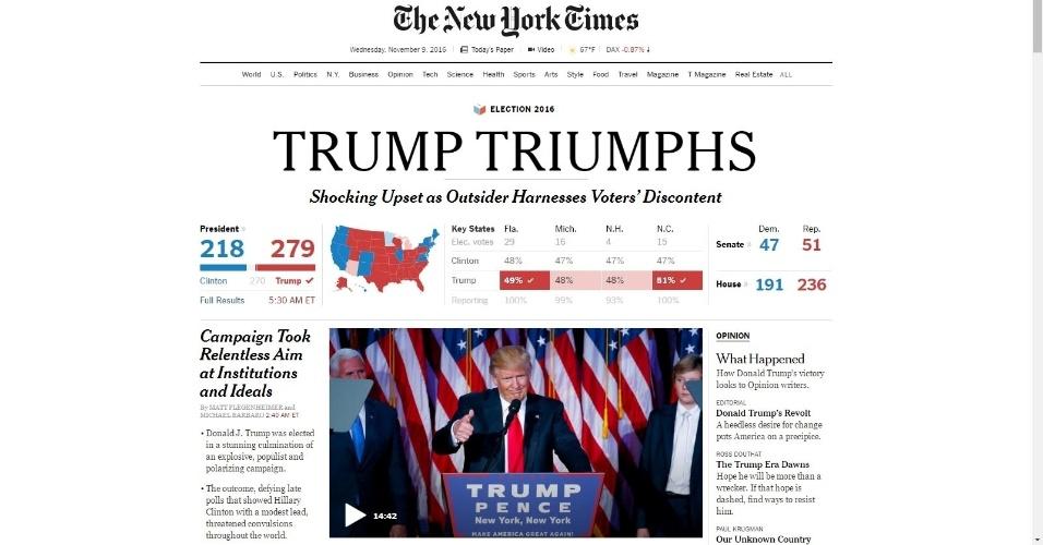 """09.nov.2016 - O jornal The New York Times destaca o triunfo de Trump e fala em """"virada chocante"""" e em """"descontentamento do eleitor"""""""