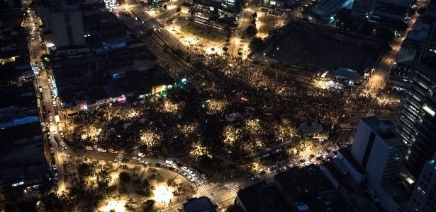Concentração de manifestantes no largo da Batata, na zona oeste de São Paulo; organizadores estimaram que 70 mil pessoas compareceram ao ato