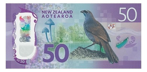 Nova Zelândia: O kokako é um tipo de corvo típico do país e ilustra a nota de 50 dólares neozelandeses