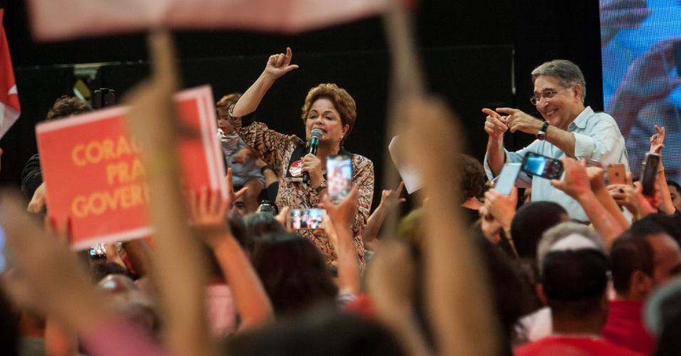 5.ago.2018 - Candidatos ao Senado e ao governo de Minas Gerais, Dilma Rousseff e Fernando Pimentel participam da convenção do PT-MG em Belo Horizonte