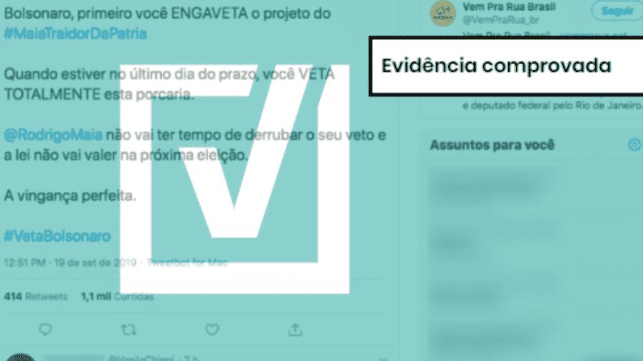 19.set.2019 - Tuíte diz que Bolsonaro pode aguardar até o final do prazo para vetar o projeto que altera lei eleitoral, o que faria a eleição de 2020 ser disputada com as regras atuais - Reprodução/Comprova