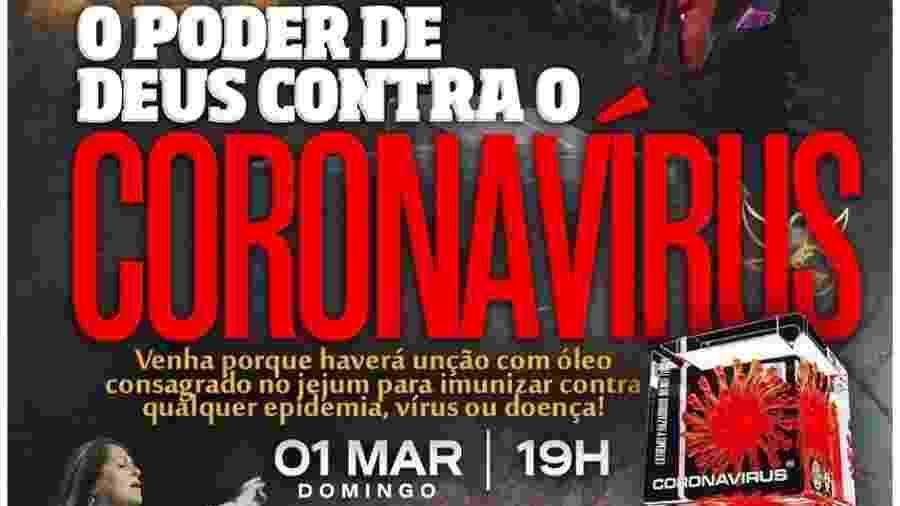 """Igreja evangélica do Rio Grande do Sul gerou revolta ao prometer imunização contra a doença em culto chamado """"O Poder de Deus contra o Coronavírus"""" - Reprodução"""