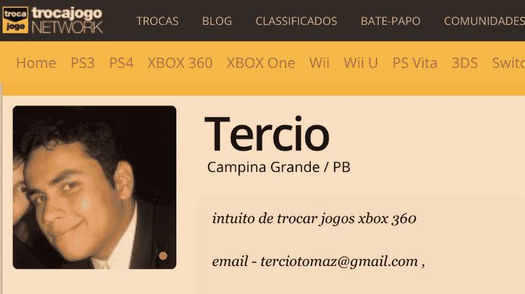 Perfil de Tercio em site de videogame mostra mesmo e-mail usado em perfil de Instagram Bolsonaro Newsss - Reprodução - Reprodução
