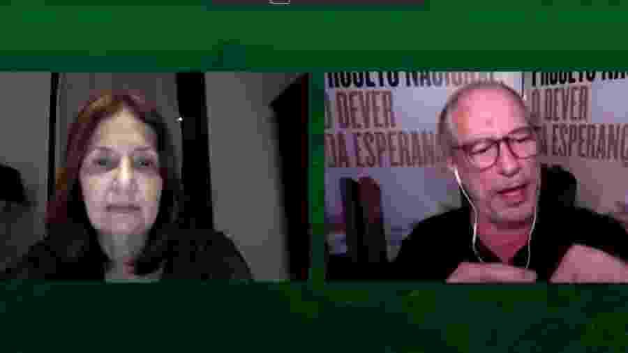 19.out.2020 - Candidata à Prefeitura do Rio pelo PDT, Martha Rocha participa de live com Ciro Gomes - Reprodução da internet
