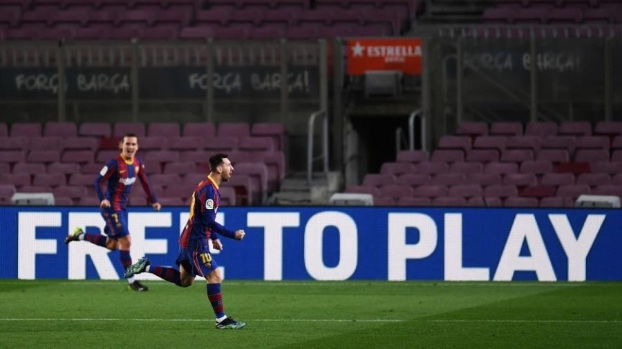 Messi (foto) e Griezmann fizeram os gols do time catalão - Alex Caparros/Getty Images