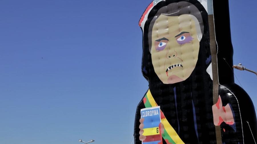 Boneco inflável gigante de Bolsonaro na Esplanada dos Ministérios, em Brasília - Divulgação/Movimento Acredito