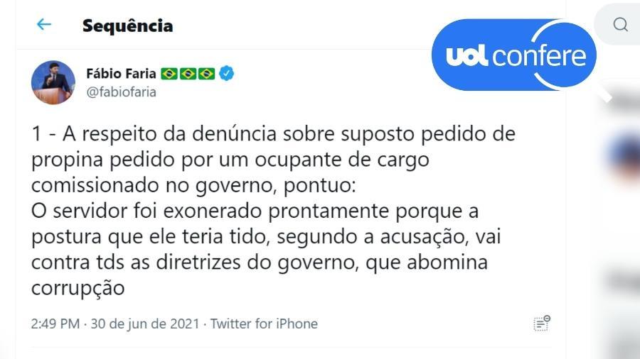30.jun.2021 - O ministro das Comunicações, Fábio Faria, omitiu informações no Twitter ao defender o governo de suspeitas envolvendo compras de vacinas - Reprodução/Twitter Fábio Faria