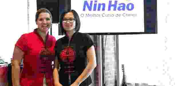 Sumara Lorusso, da Nin Hao, e Jiang Pu, ex-MasterChef, em evento para alunos - Flavio Sullas/Divulação