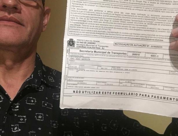 O professor universitário Zanei Barcellos, 57, teve uma surpresa ao receber uma multa do Rio no dia que assistia as Olimpíadas em sua casa em Curitiba