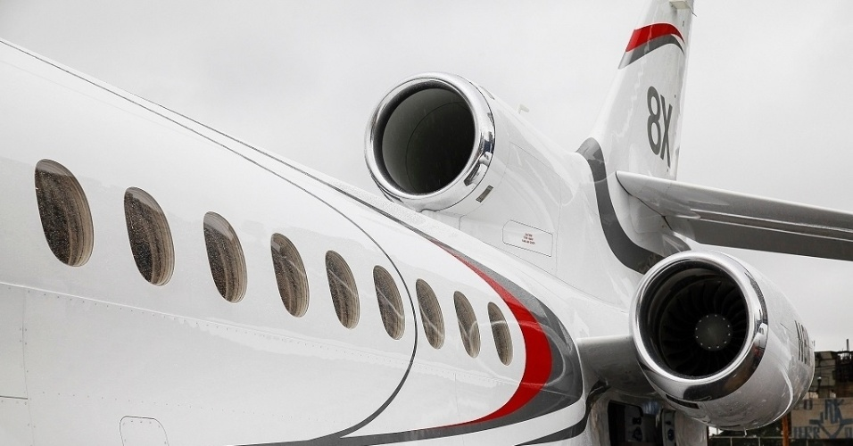 O Falcon 8X é o mais recente lançamento da francesa Dassault. O jatinho avaliado em US$ 57,5 milhões (R$ 181 milhões) pode voar de São Paulo a Moscou sem escalas.