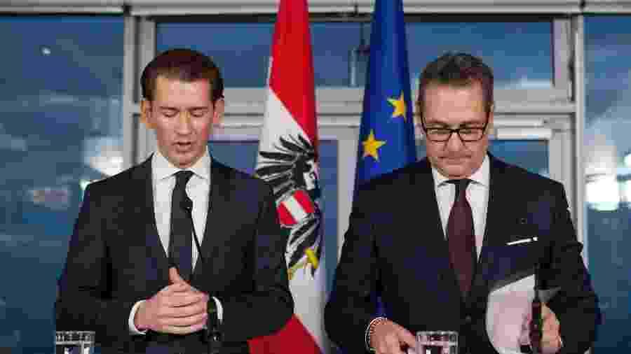 Sebastian Kurz e o vice Heinz-Christian Strache, que renunciou neste sábado  - ALEX HALADA/AFP