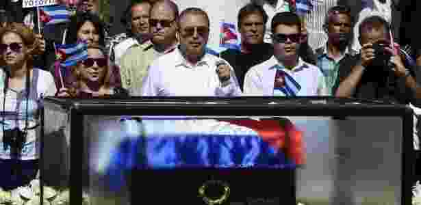 Uma das aparições públicas de Fidelito, mais velho de Fidel Castro, foi no enterro do pai, em 2016 - AFP - AFP