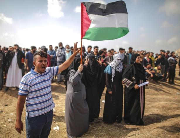 Saber Al-Gerim protesta na fronteira de Gaza com Israel