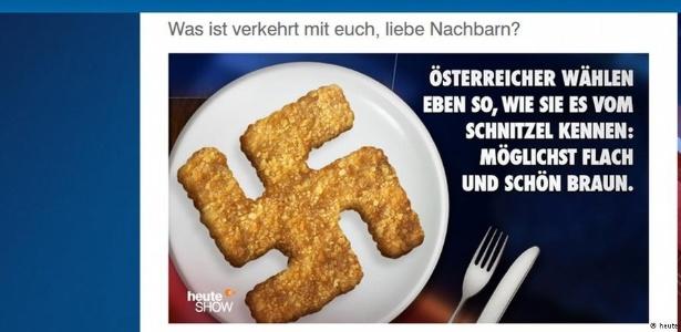 Programa de humor usou suástica nazista para ironizar votos em partido de extrema direita na Áustria - heute-show.de / reprodução