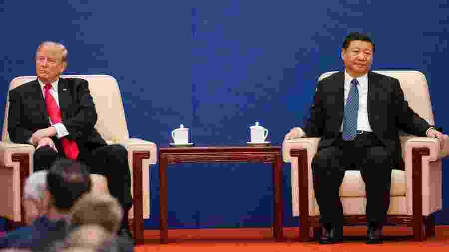 Presidente Trump e o chinês Xi Jinping em Pequim, em 2017. - Doug Mills/The New York Times
