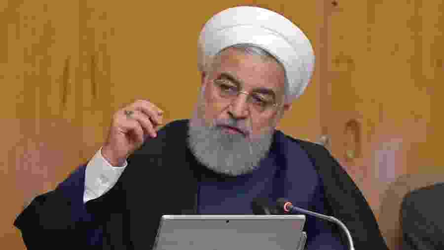 8.mai.2019 - Presidente do Irã Hassan Rouhani discursa na capital Teerã - Presidência do Irã/AFP