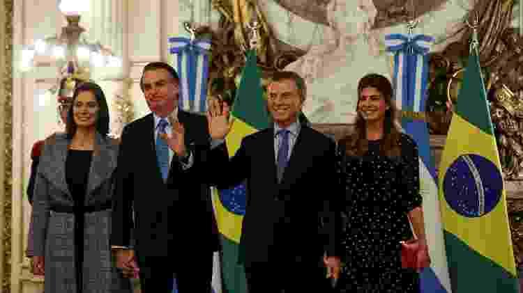 Os presidentes Bolsonaro e Macri e as primeiras-damas Michelle Bolsonaro e Juliana Alwada - Agustin Marcarian/Reuters