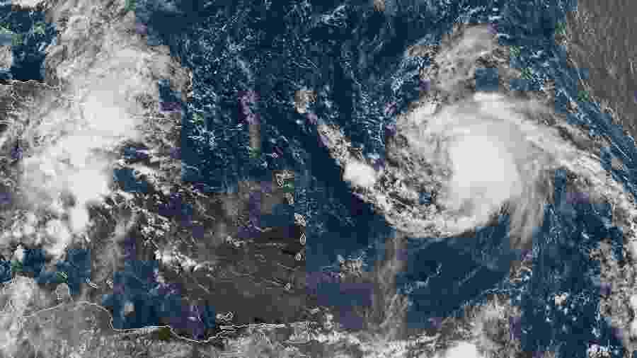 Imagens de satélite mostram o furacão Jerry se movendo na direção de Porto Rico - AFP