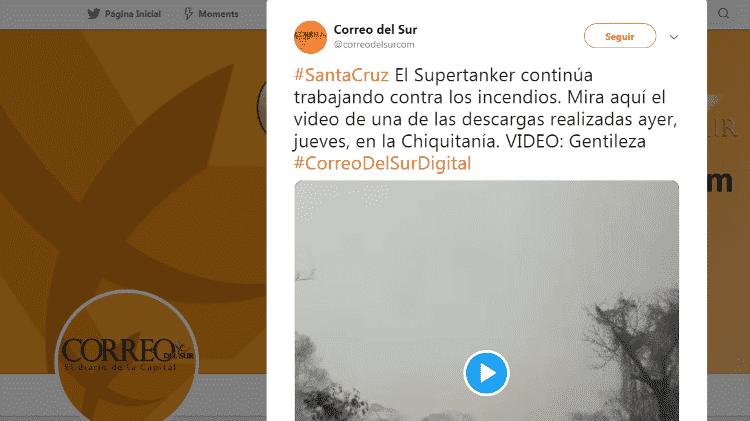 11.dez.2019 - Páginas da Bolívia compartilham vídeo de avião - Reprodução/Twitter