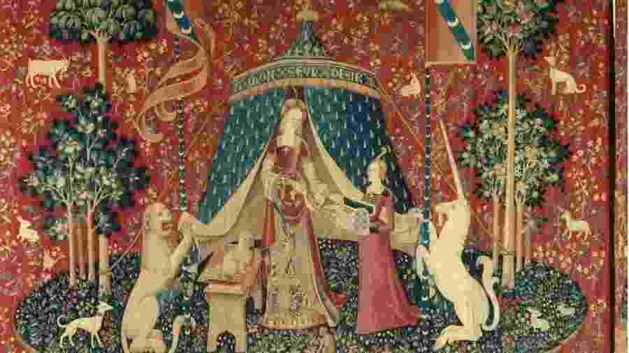 """A série de tapeçaria A dama e o Unicórnio já inspirou alguns artistas e tem inscrição enigmática: """"Mon seul desir"""" - Christophel Fine Art/Getty"""