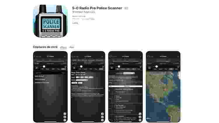 App 5-0 Radio Pro Police Scanner intercepta escutas da polícia nos EUA - Reprodução/Apple - Reprodução/Apple