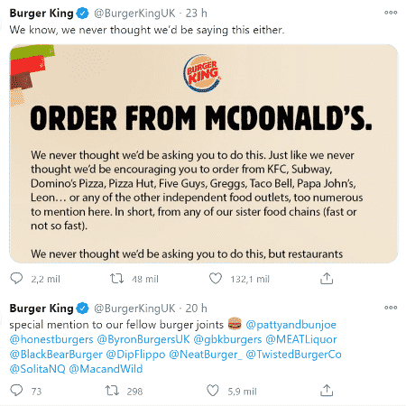 """""""Peça do McDonald""""s"""", diz o comunicado do Burger King, que pede união e apoio a restaurantes na pandemia - Reprodução/Twitter"""