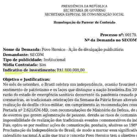"""Trecho da homologação da Secom mostra valor previsto para a campanha """"Um povo heroico"""" - Reprodução - Reprodução"""