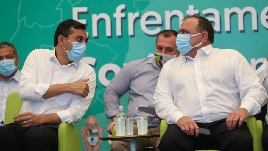 O governador do Amazonas, Wilson Lima, e o ministro da Saúde, Eduardo Pazuello - Divulgação/Secom-AM