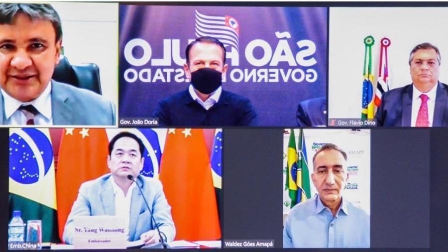 Wellington Dias, Doria, Dino, Yang Wanming e Waldez Góes em reunião sobre insumos para vacinas contra a covid-19 - Reprodução/Twitter