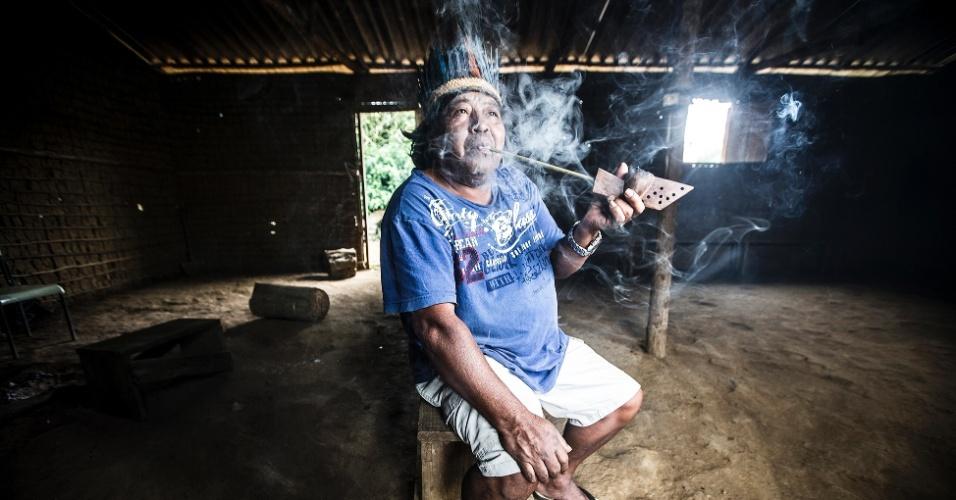Cacique Elias da Aldeia Tenondé Porã. Localizada em Parelheiros, a aldeia mantém vivas as tradições indígenas e o idioma Guarani no território da cidade.