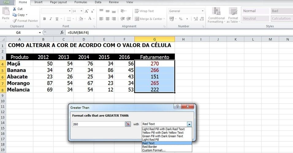"""Neste exemplo, escolheremos a opção """"Greater Than.."""" (É maior do que...). Na nova janela, escolha o valor limite e o tipo de formatação. Neste caso, a diferenciação escolhida foi a cor vermelha para os valores maiores do que 260"""