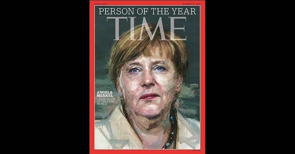 """Angela Merkel (2015) - A mulher mais recente a receber a tradicional capa anual da """"Time"""" foi a chanceler alemã, Angela Merkel, por sua participação na crise de refugiados em 2015. Segundo a revista, sua postura de recepção aos imigrantes fez de Merkel a """"chanceler do mundo livre"""""""