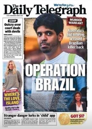 Reprodução de capa de jornal australiano com notícia do caso - Reprodução