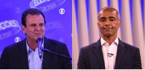 Os candidatos ao governo do Rio Eduardo Paes (à esq.) e Romário (à dir.)