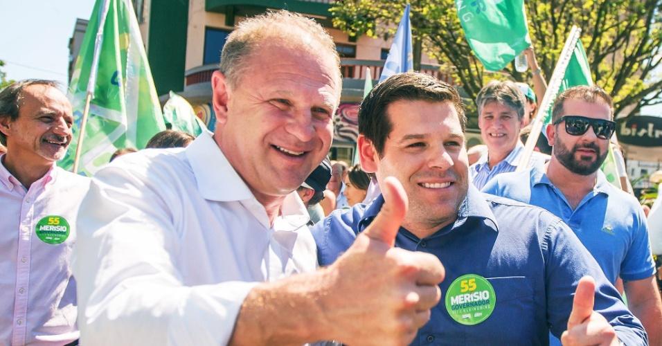 O candidato ao governo do estado de Santa Catarina Gelson Merisio (PSD-SC) durante agenda de campanha para o segundo turno