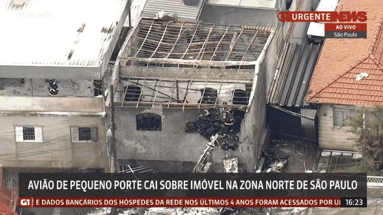 A casa de João Bovolenta, 83, que teve sua casa atingida pela queda de uma aeronave de pequeno porte - Reprodução/GloboNews