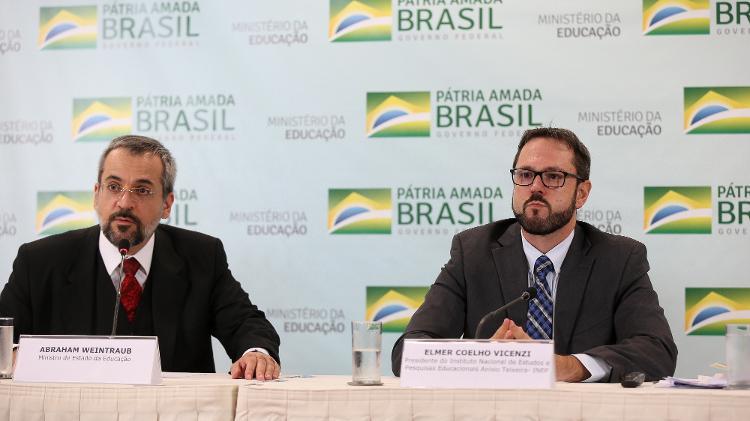 O ex-ministro da Educação Abraham Weintraub e o ex-presidente do Inep Elmer Vicenzi - Pedro Ladeira/Folhapress - Pedro Ladeira/Folhapress