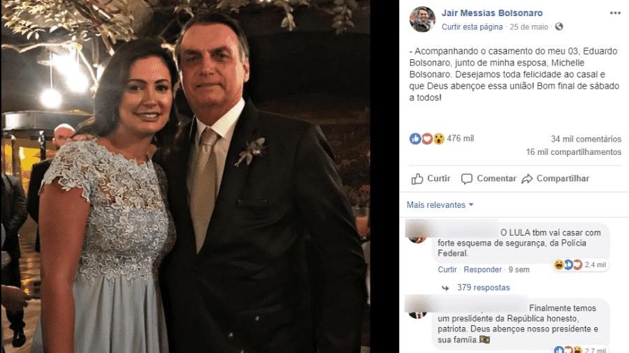 2.ago.2019 - O presidente Jair Bolsonaro (PSL) e a primeira-dama, Michelle Bolsonaro, na foto mais curtida do Facebook do presidente entre janeiro e julho deste ano - Reprodução/Facebook Jair Bolsonaro