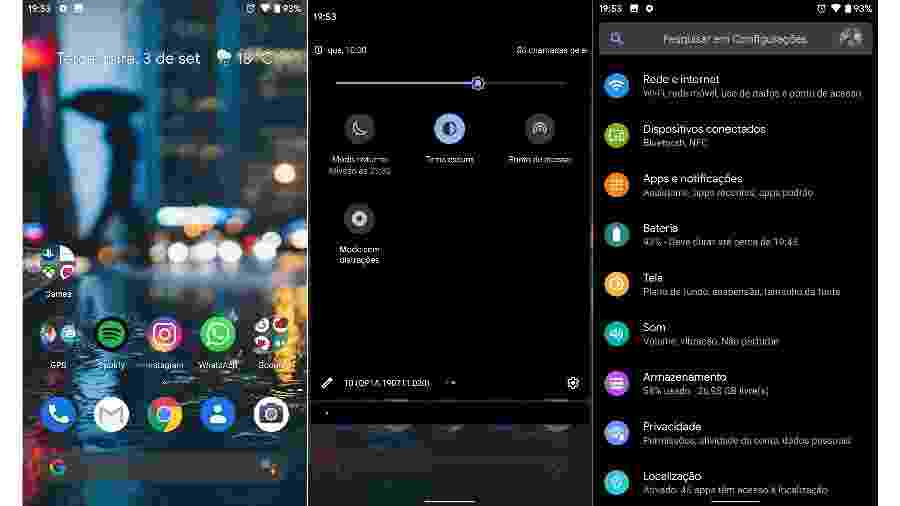 """Android 10: modo escuro e botão do modo """"sem distrações"""" (centro) - Reprodução"""